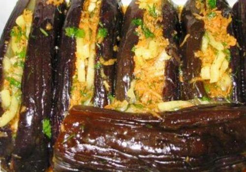 Фаршированные баклажаны на зиму с морковкой и болгарским перцем