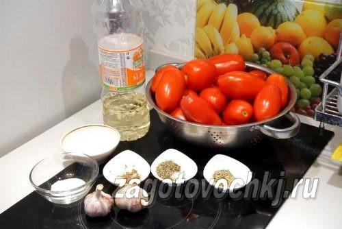 ингредиенты для приготовления вяленых помидоров