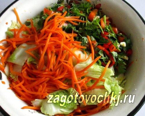 добавить к капусте зелень, морковь