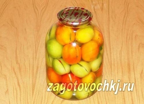 бурые помидоры с аспирином в 3 литровой банке