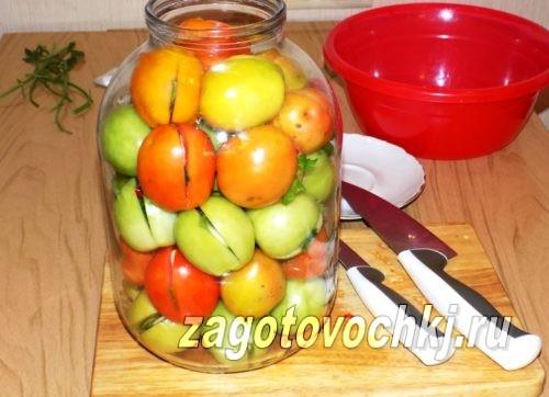 бурые помидоры в 3 литровой банке