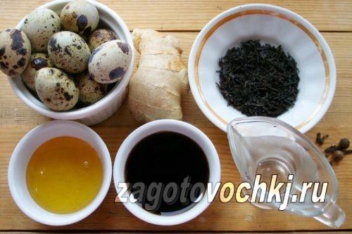 ингредиенты для приготовления маринованных перепелиных яиц