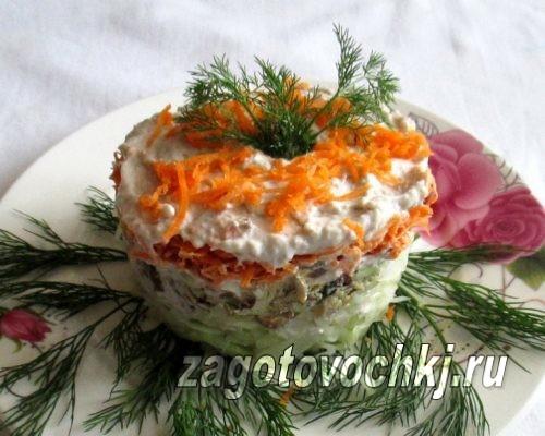 фото и рецепт салата с рыбными консервами