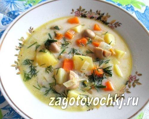 Суп с консервированными кукурузой и шампиньонами