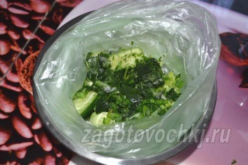 добавить в пакет зелень и приправы
