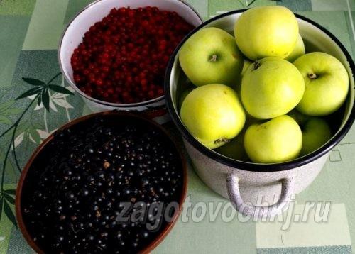 яблоки, красная и черная смородина