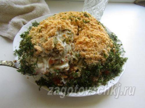 """салат """"Мимоза"""" с консервами, классический рецепт"""