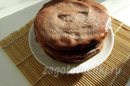 шоколадный торт на кипятке, приготовленный на сковороде