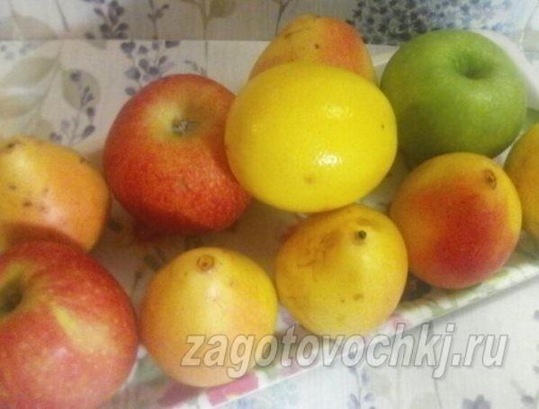 яблоки, груши, лимон