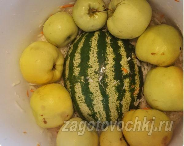 квашеная капуста, яблоки и арбуз