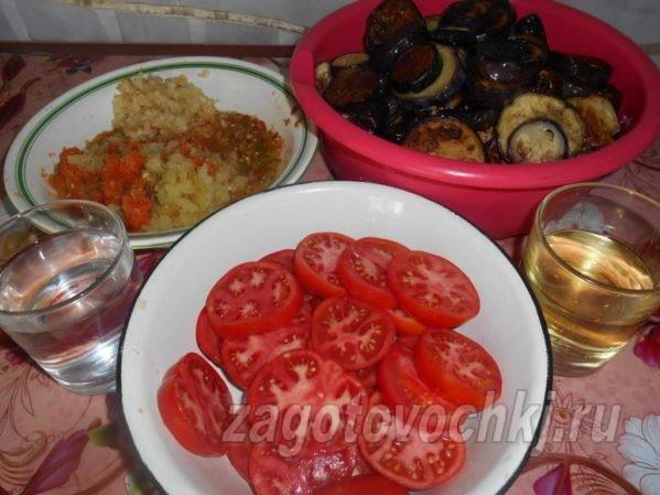 продукты, необходимые для приготовления острых баклажанов